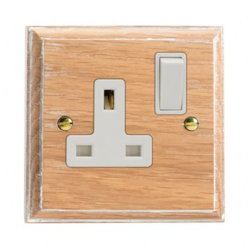 Varilight XK4LOW Kilnwood Limed Oak 1 Gang 13A DP Single Switched Plug Socket
